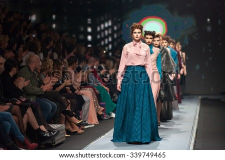 ZAGREB, CROATIA - OCTOBER 31, 2015: Fashion models wearing clothes designed by Ivica Skoko on the 'Fashion.hr' fashion show - stock photo
