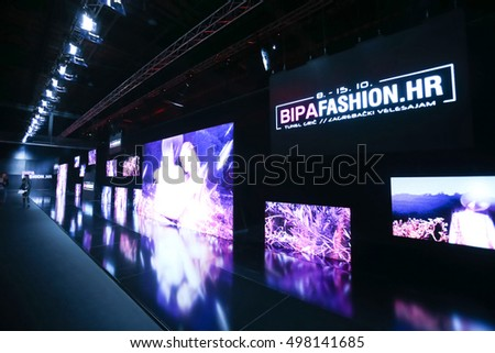 ZAGREB, CROATIA- OCTOBER 11, 2016: Sign of Bipa Fashion.hr on the screen on the Bipa Fashion.hr fashion show in Zagreb, Croatia