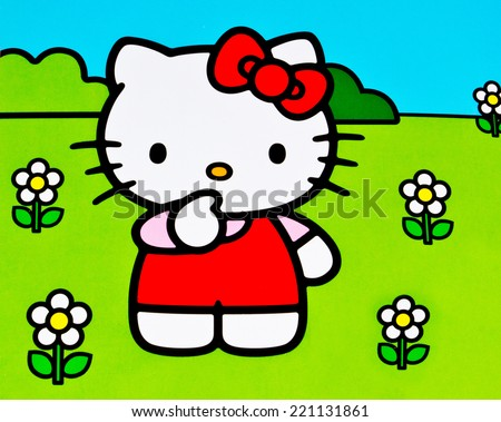 ZAGREB , CROATIA - OCTOBER 1st , 2014 :  Hello kitty children cartoon character printed on box  ,product shot - stock photo