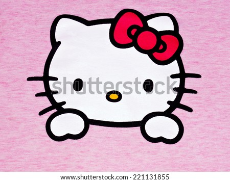 ZAGREB , CROATIA - OCTOBER 1st , 2014 :  Hello kitty children fictional cartoon character head printed on textile  ,product shot - stock photo