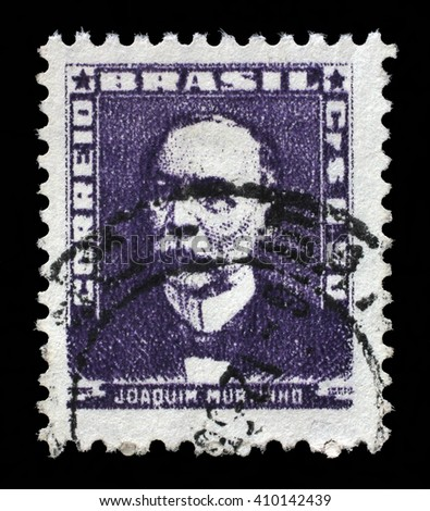 ZAGREB, CROATIA - SEPTEMBER 18: A stamp printed in Brazil, shows portrait of Joaquim Murtinho, with the same inscription, from the series Portraits, circa 1954, on September 18, 2014, Zagreb, Croatia - stock photo