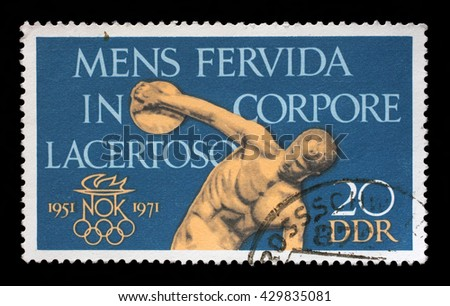 ZAGREB, CROATIA - SEPTEMBER 09: a stamp printed in GDR shows The 20th Anniversary of DDR's Olympic Committee, Discobolus, circa 1971, on September 09, 2014, Zagreb, Croatia - stock photo