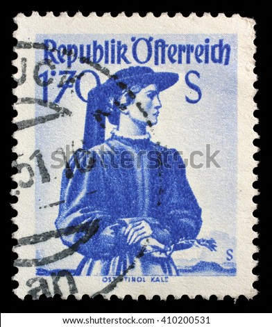 ZAGREB, CROATIA - SEPTEMBER 13: a stamp printed in the Austria shows Woman from East Tyrol, Kals, Regional Costume, circa 1950, on September 13, 2014, Zagreb, Croatia - stock photo