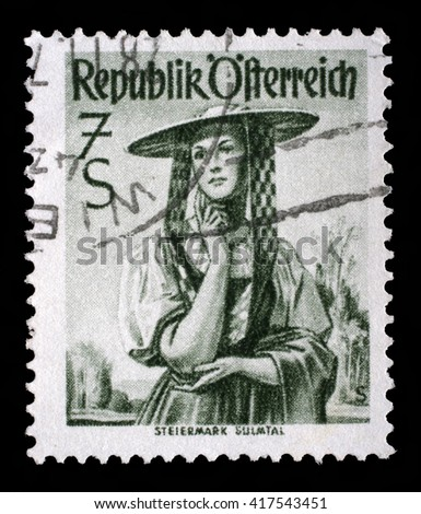 ZAGREB, CROATIA - SEPTEMBER 18: a stamp printed in the Austria shows Woman from Steiermark, Sulm Valley, Regional Costume, circa 1952, on September 18, 2014, Zagreb, Croatia - stock photo