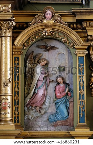 ZAGREB, CROATIA - SEPTEMBER 14: Annunciation of the Virgin Mary, altarpiece in the Basilica of the Sacred Heart of Jesus in Zagreb, Croatia on September 14, 2015 - stock photo