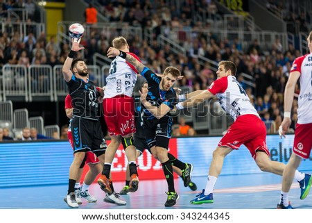 ZAGREB, CROATIA - SEPTEMBER 21, 2015: EHF Men's Champions League, Group (A) phase. Match between HC Zagreb PPD and HC Flensburg-Handewitt.