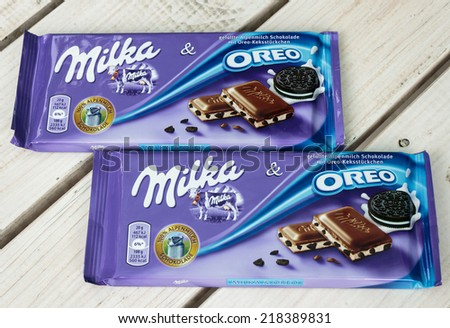 ZAGREB, CROATIA - SEPTEMBER 20, 2014: Milka and Oreo two chocolates on white board background