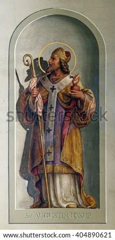 ZAGREB, CROATIA - SEPTEMBER 14: Saint Augustin, fresco in the Basilica of the Sacred Heart of Jesus in Zagreb, Croatia on September 14, 2015. - stock photo