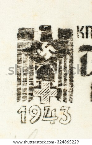 Zagreb, Croatia - September 6, 2015: Stamp printed by Czechoslovakia, shows German Red Cross. This image is not a Nazi propaganda. - stock photo