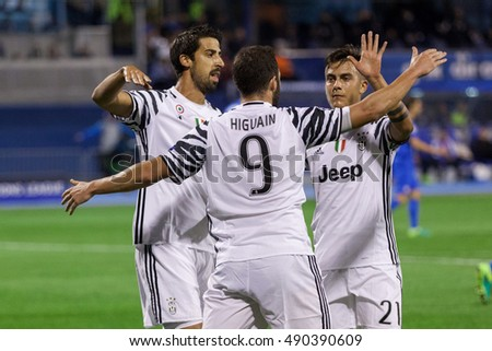 ZAGREB, CROATIA - SEPTEMBER 27, 2016: UEFA Champions League 2015-16 Group H - GNK Dinamo Zagreb VS FC Juventus. Gonzalo Gerardo HIGUAIN (9) celebrating goal with team mates.