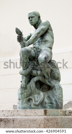 Zagreb, Croatia: Simeon Roksandi?'s sculpture Fisherman fighting the snake