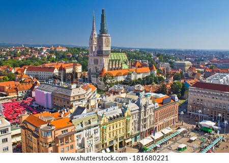 Zagreb main square and cathedral aerial view, Croatia - stock photo