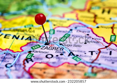 Zagreb Pinned On Map Europe Stock Photo Royalty Free 232205857