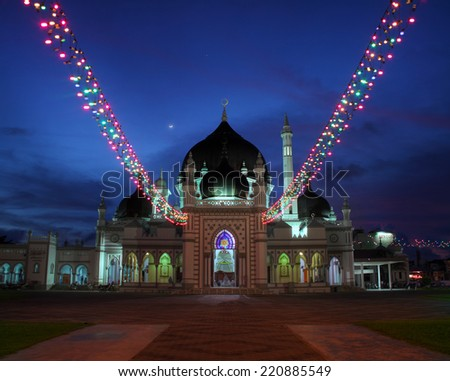 Zahir Mosque in Malaysia dueing blue hour - stock photo