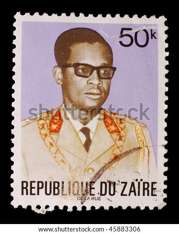 ZAIRE - DATE UNKNOWN: A stamp shows image of Mobutu, President of Zaire from 1965-1997, circa unknown (pre 1998)