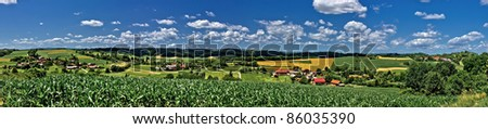 Zaistovec valley spring colorful panorama, Croatia - stock photo