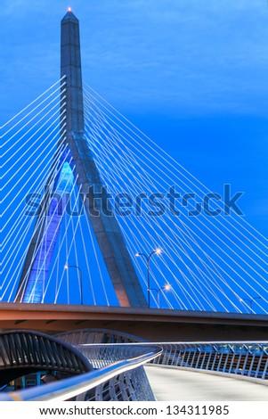 Zakim Bridge and Footpath at Twilight - stock photo