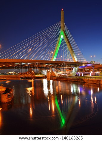 Zakim Bridge and North Bank Bridge (walkway) in Boston, Massachusetts - stock photo