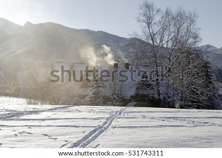 ZAKOPANE, POLAND - DECEMBER 29, 2010: Residential buildings produce environmental poisoning in the suburban area of secluded part of town known for its wide range of tourist attractions