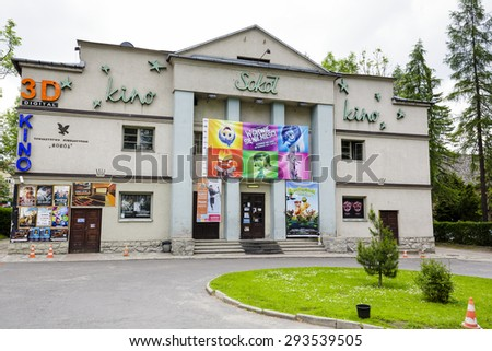 ZAKOPANE, POLAND - JUNE 11, 2015: Sokol cinema located in the building of Gymnastic Society with the same name, in 2013 it celebrated its 100th anniversary of its existence