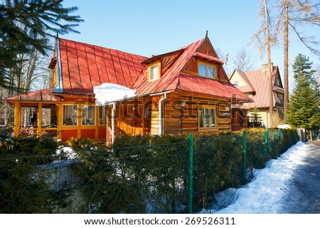 ZAKOPANE, POLAND - MARCH 09, 2015: Made of wood, residential building dating from approx. 1905, listed in the municipal register of architectural heritage