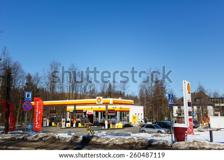 ZAKOPANE, POLAND - MARCH 09, 2015: Shall Gas Station launched in 2012, belongs to a global group of energy and petrochemicals companies whose origins date back to 1890 - stock photo