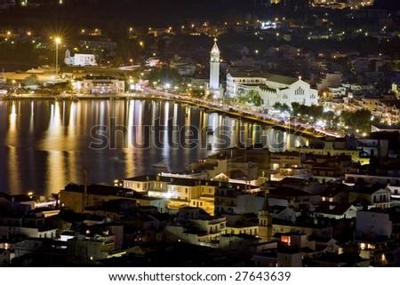 Zakynthos by night - stock photo