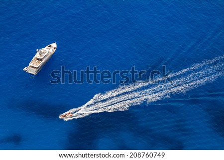 Zakynthos, Greece - June 30: Tourist boats in the Navagio (Shipwreck) Bay in Zakynthos, Greece on June 30, 2014. Navagio Bay is a popular attraction among tourists visiting the island of Zakynthos.