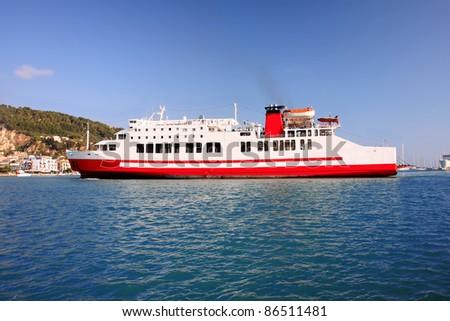 Zakynthos town with big ferry, Greece - stock photo