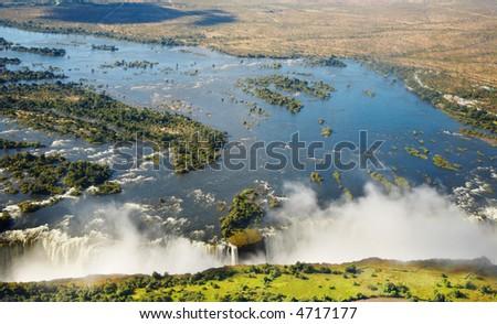 Zambezi river and Victoria Falls - stock photo
