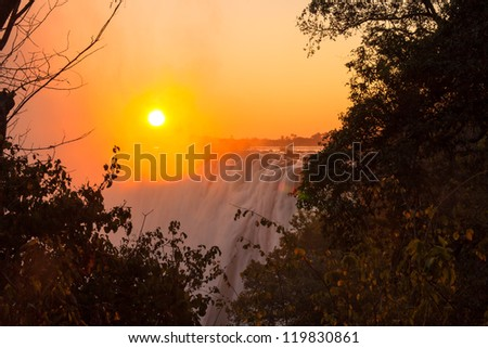 Zambezi River and Victoria Falls seen from Livingstone, Zambia - stock photo