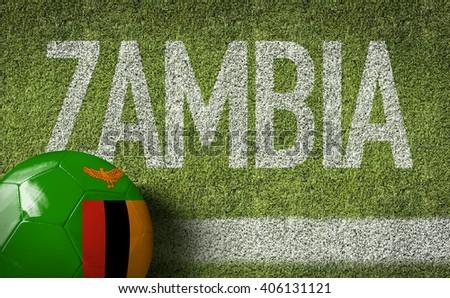 Zambia Ball in a Soccer Field - stock photo