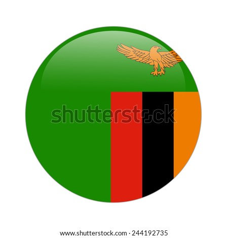 Zambia flag button on white - stock photo