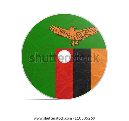 Zambia flag DVD. Mulberry paper on white background. - stock photo
