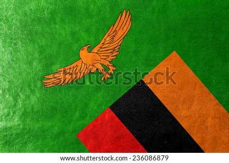 Zambia Flag painted on leather texture - stock photo