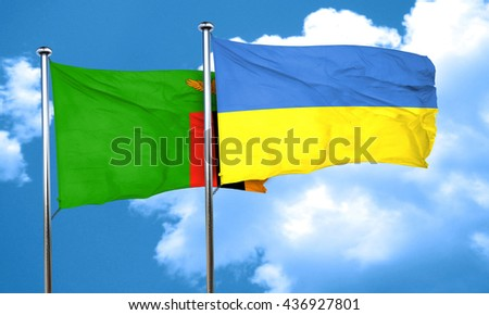 Zambia flag with Ukraine flag, 3D rendering