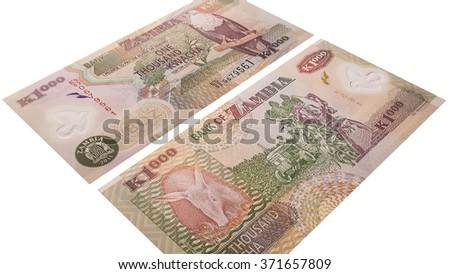 Zambia money isolated on a white background, banknote 1000 kwacha