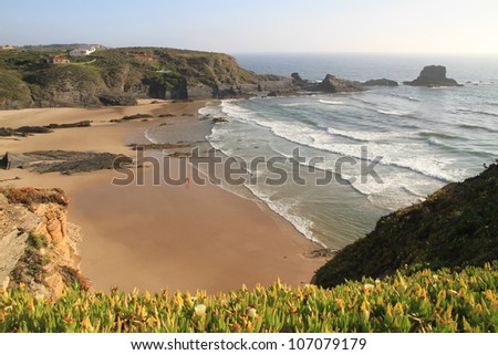 Zambujeira do Mar Beach, Alentejo, Portugal - Nominated for one of the wonders of Portugal in the category of Urban Beach - stock photo