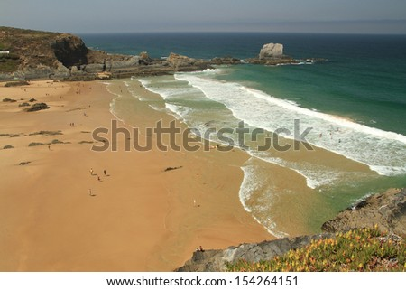 Zambujeira do Mar Beach, Alentejo, Portugal - Winner of the wonders of Portugal in the category of Urban Beach  - stock photo