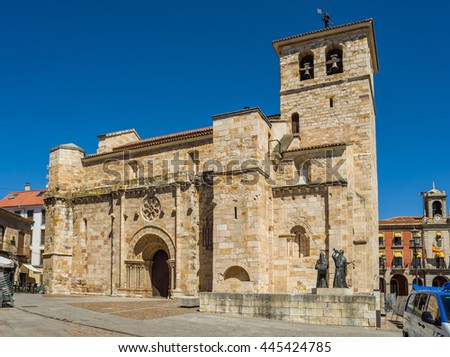 Zamora, Spain - June 20, 2016: Principal facade of Church of San Juan Bautista in mayor square of Zamora, Castilla y Leon. Spain.