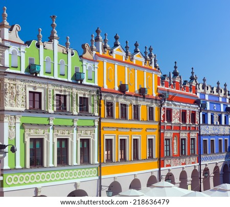 Zamosc, Poland. Historic buildings of the old town know as the Great Market - stock photo