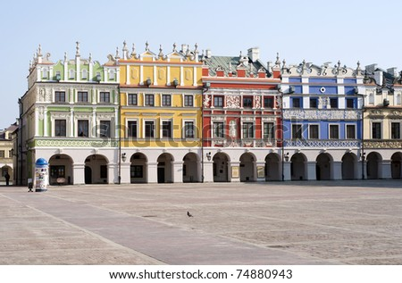zamosc tenement house with arkady - stock photo