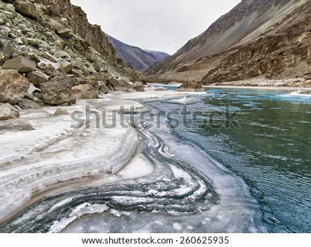 Zanskar mountain river in the winter. Himalayas, northern India - stock photo