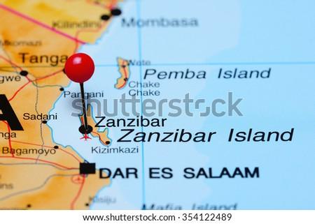 Zanzibar pinned on a map of Africa  - stock photo