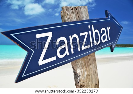 Zanzibar sign on the beach