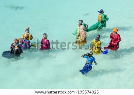 ZANZIBAR, TANZANIA - NOV 23, 2012: Women with colorful clothes fishing in shallow watter. They are hunting small fishes into the net. After hours they take home just a full pot of small fishes.  - stock photo