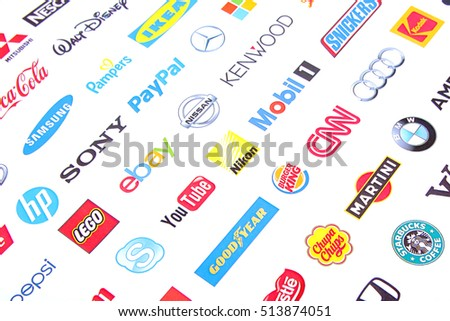 ZAPOROZHYE, UKRAINE - NOVEMBER 11, 2016: Photo of a logotype collection of well-known world brand's printed on paper. Include Coca-Cola, Canon, Pepsi, Twitter, Apple and more others logo.