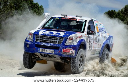 ZARAGOZA, SPAIN - JUL 21 : Rafa Ciscar and Juan Antonio Pe�±alva, in a Isuzu D-Max, race in Baja Spain, on Jul 21, 2012 in Zaragoza, Spain - stock photo