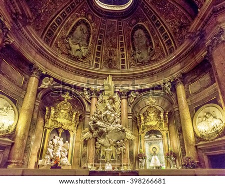 ZARAGOZA, SPAIN - MARCH 24, 2016: Interior of the basilica of the Virgen del Pilar, Zaragoza, Aragon, Spain.