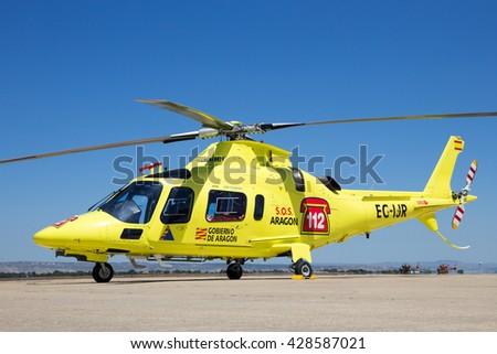 ZARAGOZA, SPAIN - MAY 20,2016: Inaer Agusta A-109E Power resque helicopter on the tarmac of Zaragoza airbase. - stock photo
